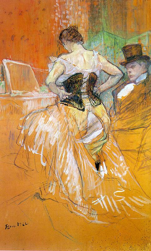 Henri  Toulouse-Lautrec Woman in a Corset (Study for Elles) oil painting image