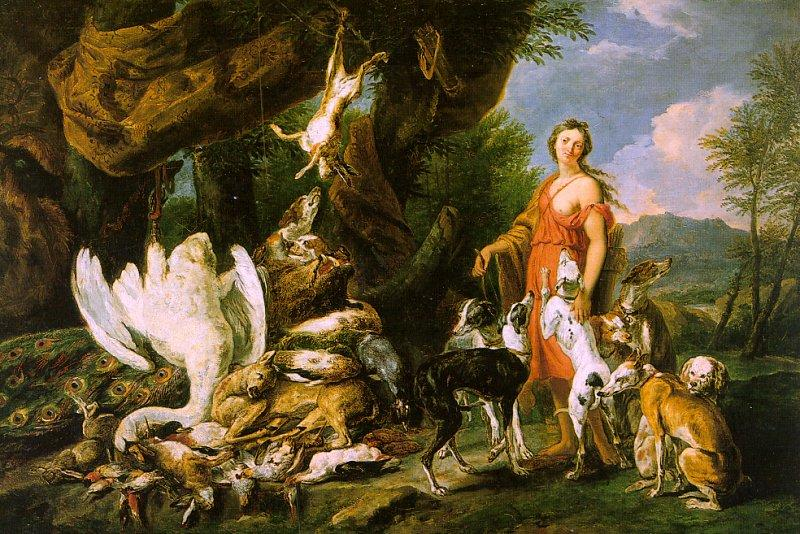 Jan  Fyt Diana with her Hunting Dogs Beside the Kill oil painting image
