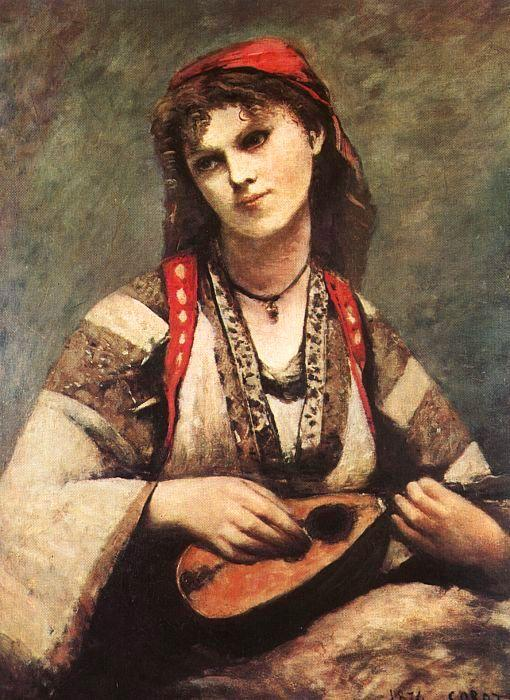 Jean Baptiste Camille  Corot Gypsy with a Mandolin oil painting image