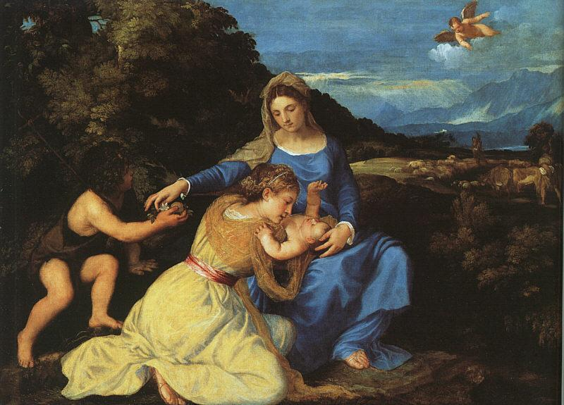 Titian Madonna and Child with the Young St.John the Baptist St.Catherine oil painting image