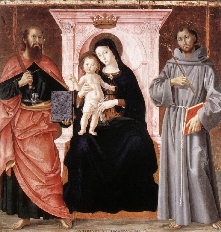 ANTONIAZZO ROMANO Madonna Enthroned with the Infant Christ and Saints jj France oil painting art
