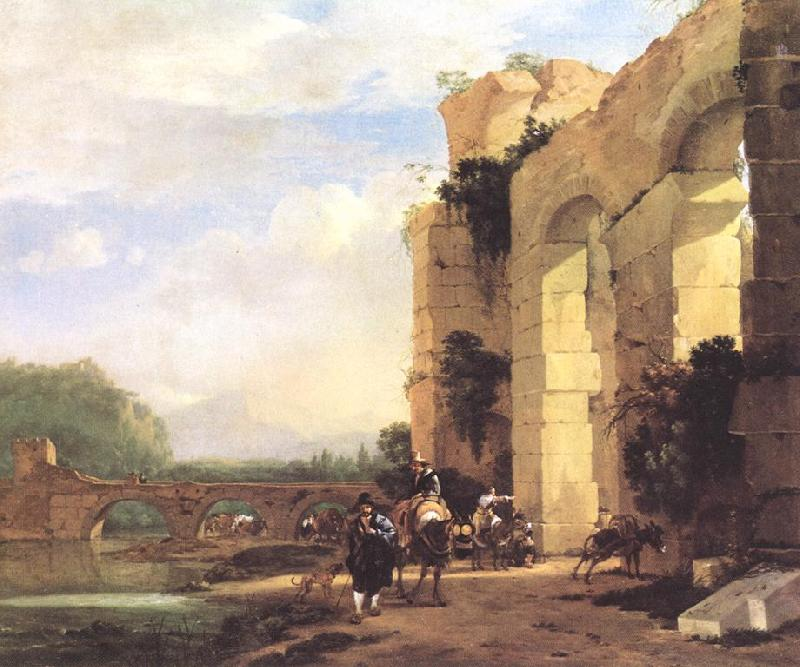 ASSELYN, Jan Italian Landscape with the Ruins of a Roman Bridge and Aqueduct cc France oil painting art