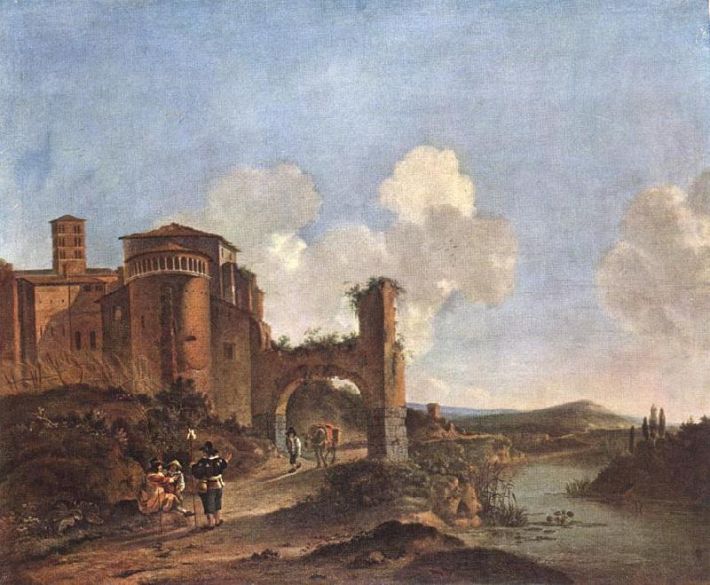 ASSELYN, Jan Italian Landscape with SS. Giovanni e Paolo in Rome France oil painting art