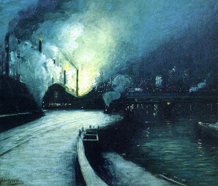 Aaron Harry Gorson Industrial Scene, Pittsburgh France oil painting art