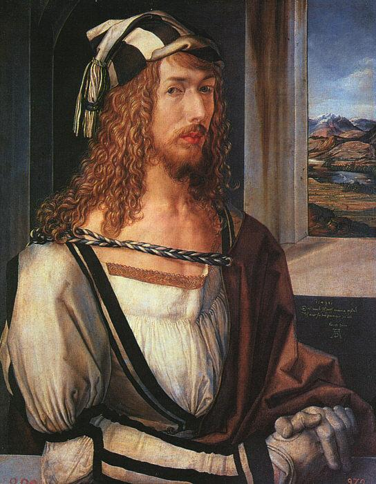 Albrecht Durer Self Portrait with Gloves oil painting image