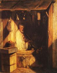 Alexandre Gabriel Decamps Turkish Merchant smoring in His shop oil painting image