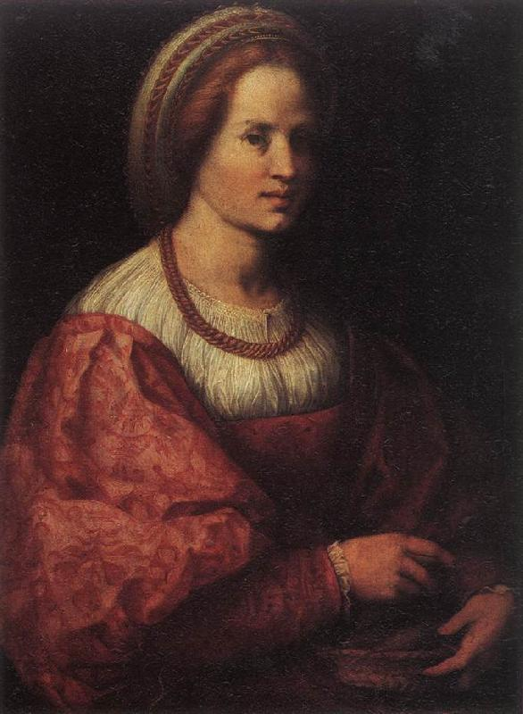 Andrea del Sarto Portrait of a Woman with a Basket of Spindles France oil painting art