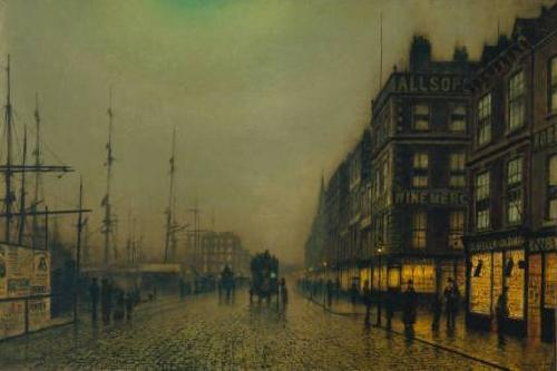 Atkinson Grimshaw Liverpool Quay by Moonlight oil painting image
