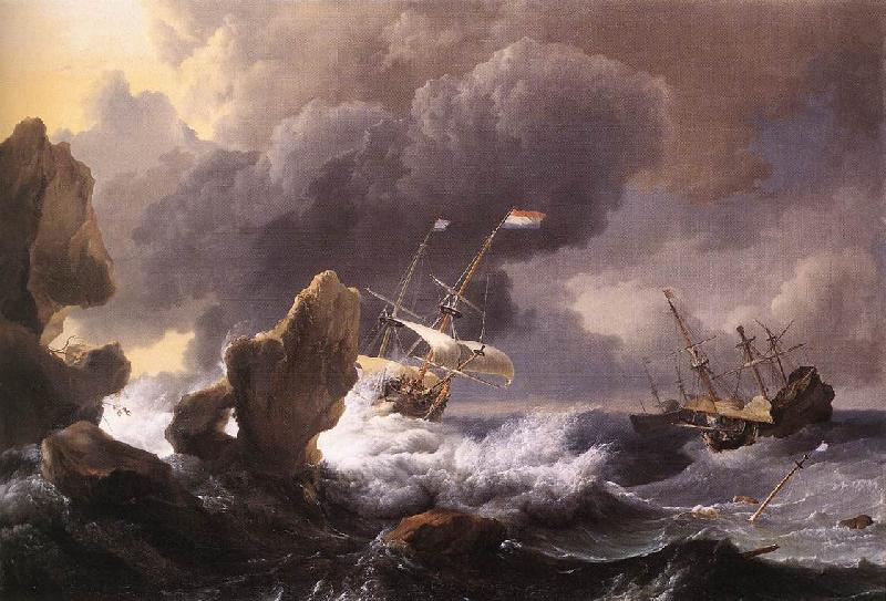 BACKHUYSEN, Ludolf Ships in Distress off a Rocky Coast France oil painting art