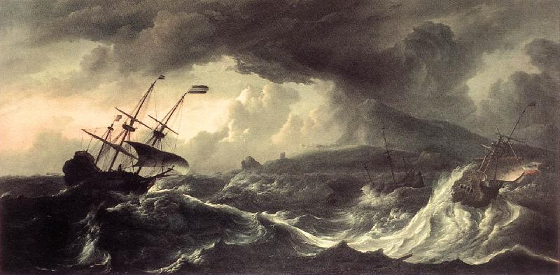 BACKHUYSEN, Ludolf Ships Running Aground in a Storm  hh oil painting image