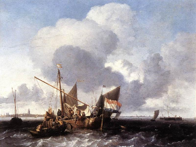 BACKHUYSEN, Ludolf Ships on the Zuiderzee before the Fort of Naarden fgg France oil painting art