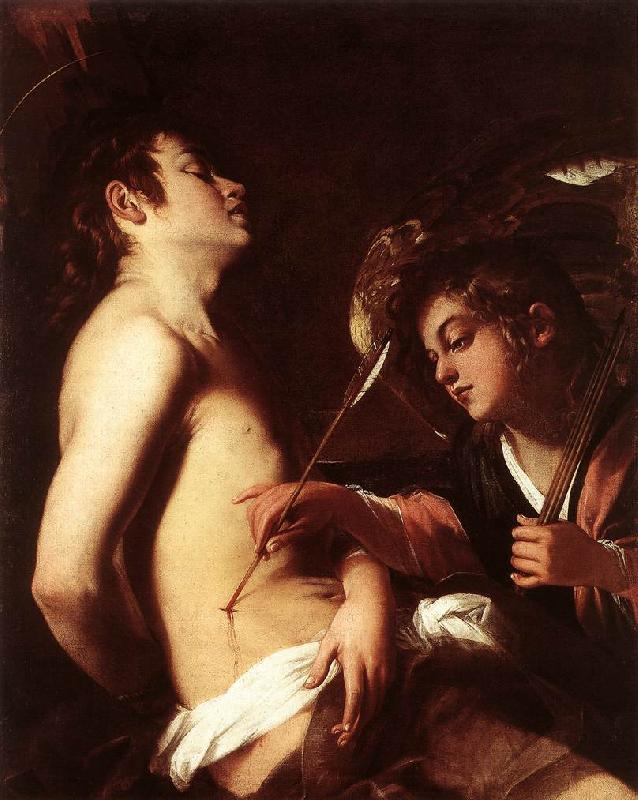 BAGLIONE, Giovanni St Sebastian Healed by an Angel  ed France oil painting art