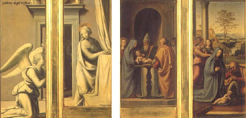 BARTOLOMEO, Fra The Annunciation (front), Circumcision and Nativity (back) France oil painting art