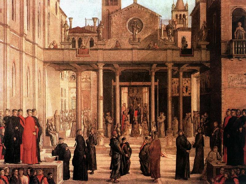 BASTIANI, Lazzaro The Relic of the Holy Cross is offered to the Scuola di S. Giovanni Evangelista France oil painting art