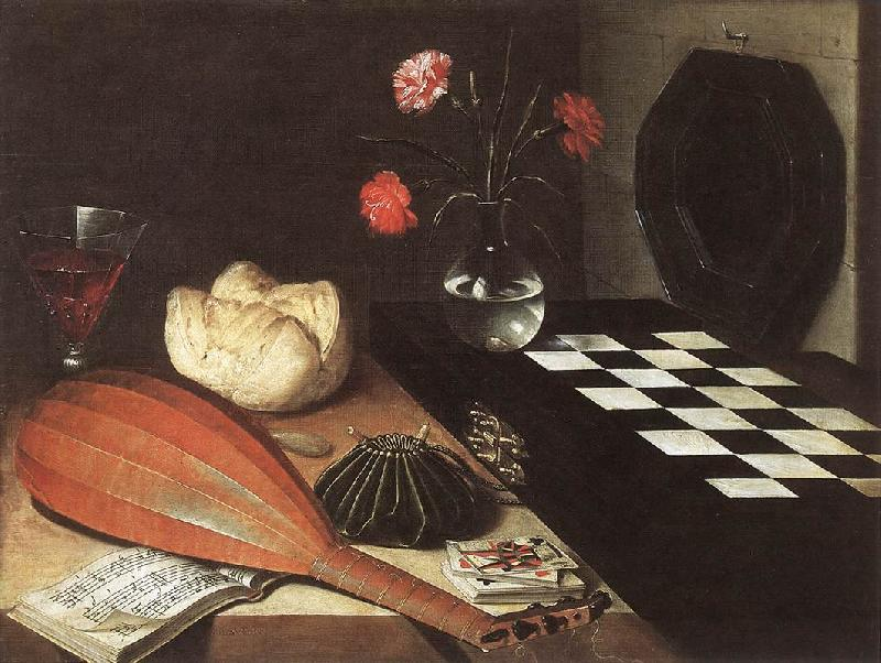 BAUGIN, Lubin Still-life with Chessboard (The Five Senses) fg France oil painting art