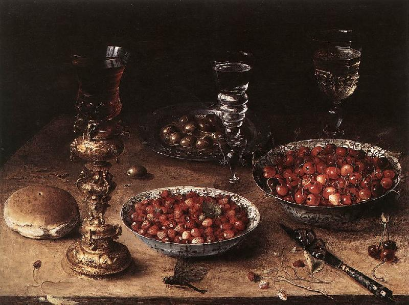 BEERT, Osias Still-Life with Cherries and Strawberries in China Bowls France oil painting art