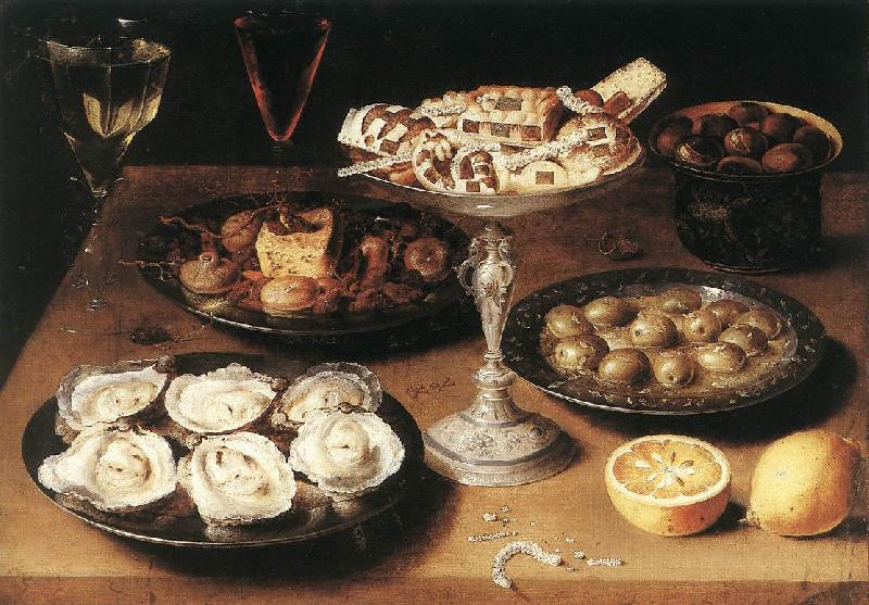 BEERT, Osias Still-Life with Oysters and Pastries France oil painting art