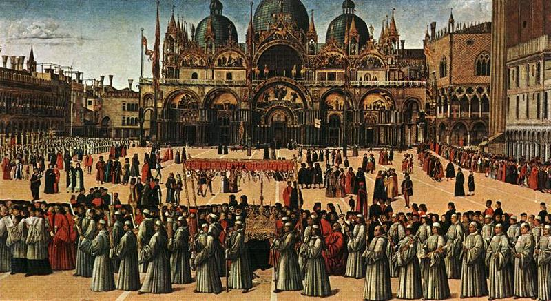 BELLINI, Gentile Procession in Piazza S. Marco France oil painting art
