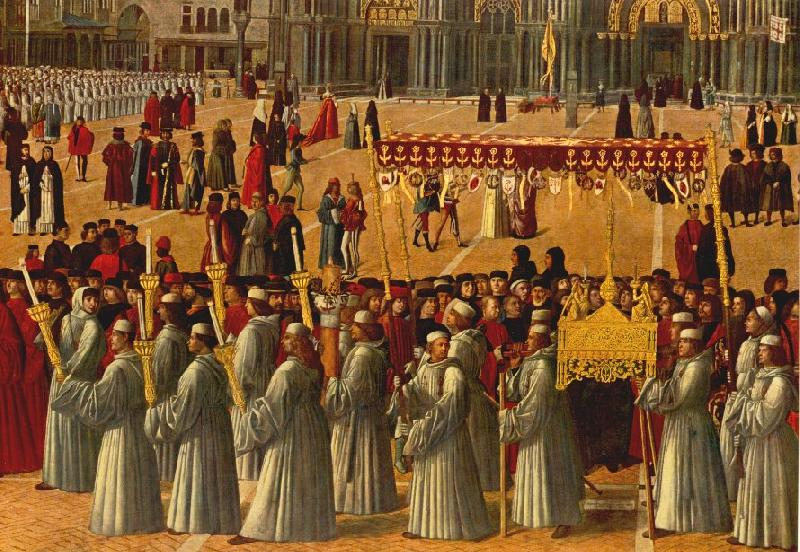 BELLINI, Gentile Procession in Piazza S. Marco (detail) ll95 France oil painting art