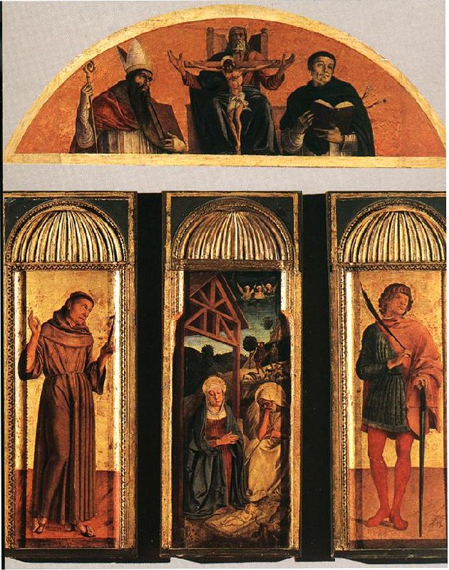 BELLINI, Giovanni Nativity Triptych France oil painting art