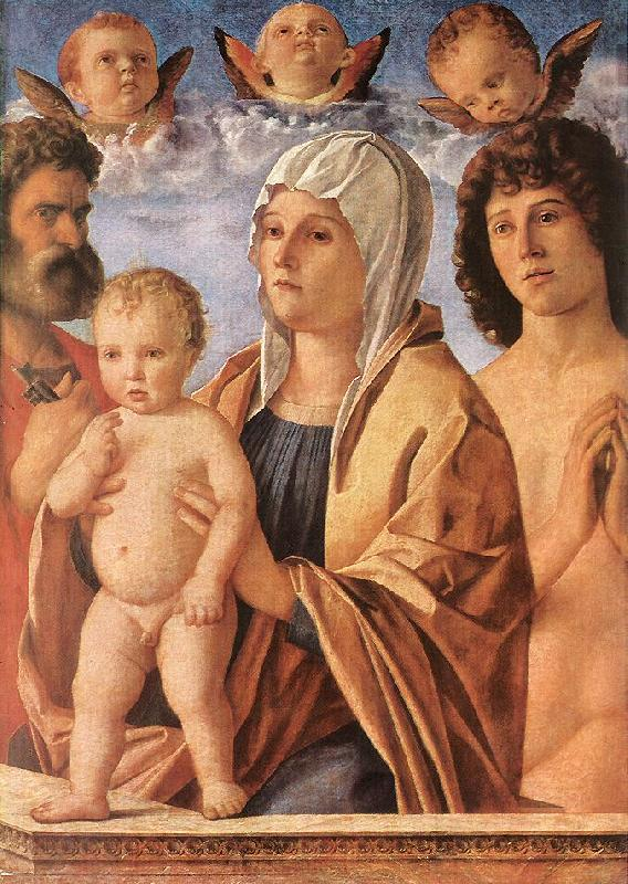 BELLINI, Giovanni Madonna with Child and Sts. Peter and Sebastian fgf France oil painting art