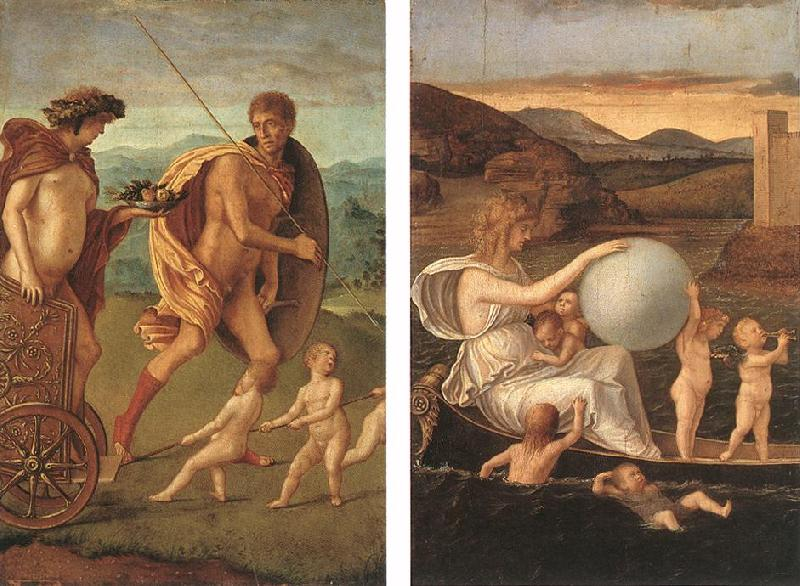 BELLINI, Giovanni Four Allegories: Perseverance and Fortune  ff France oil painting art