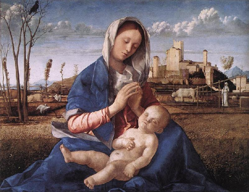 BELLINI, Giovanni Madonna of the Meadow (Madonna del prato) gh France oil painting art