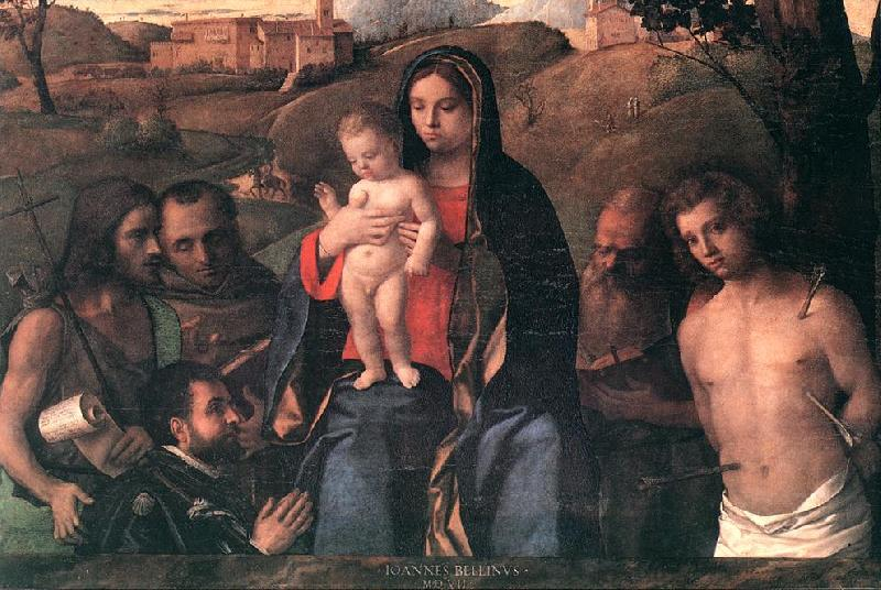 BELLINI, Giovanni Madonna and Child with Four Saints and Donator France oil painting art