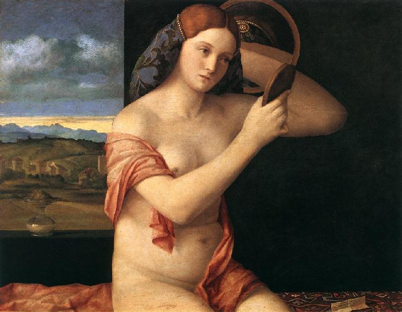BELLINI, Giovanni Naked Young Woman in Front of the Mirror  dtdhg France oil painting art