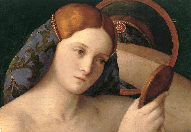 BELLINI, Giovanni Naked Young Woman in Front of the Mirror (detail) France oil painting art