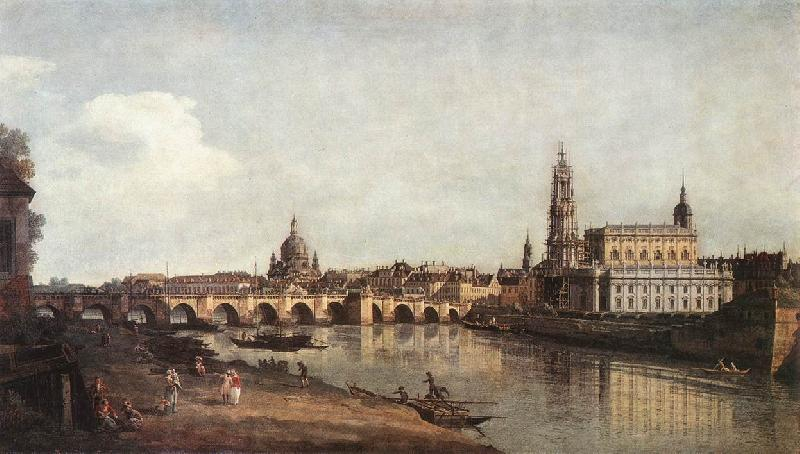 BELLOTTO, Bernardo View of Dresden from the Right Bank of the Elbe with the Augustus Bridge France oil painting art