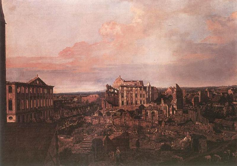 BELLOTTO, Bernardo Dresden, the Ruins of the Pirnaische Vorstadt France oil painting art