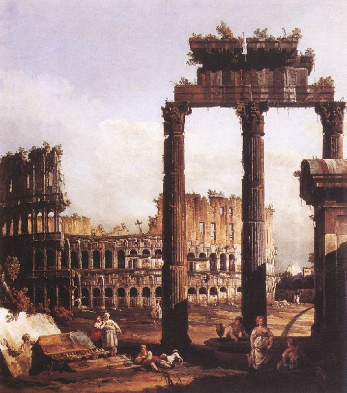 BELLOTTO, Bernardo Capriccio with the Colosseum France oil painting art