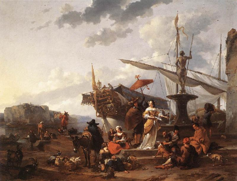 BERCHEM, Nicolaes A Southern Harbour Scene France oil painting art