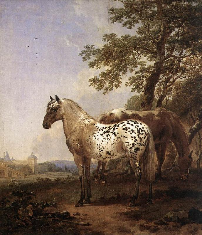 BERCHEM, Nicolaes Landscape with Two Horses France oil painting art