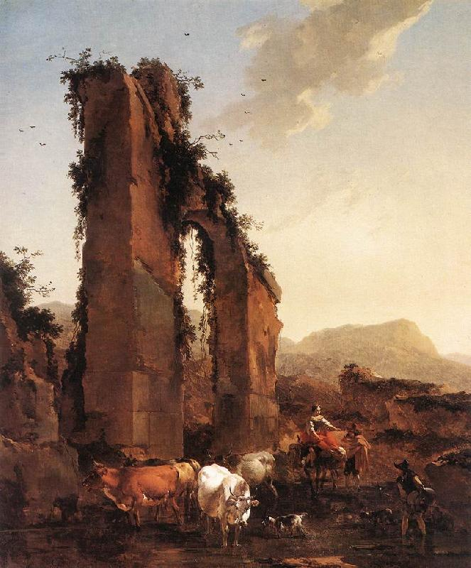 BERCHEM, Nicolaes Peasants with Cattle by a Ruined Aqueduct France oil painting art