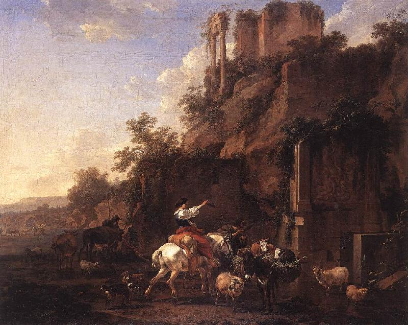 BERCHEM, Nicolaes Rocky Landscape with Antique Ruins France oil painting art