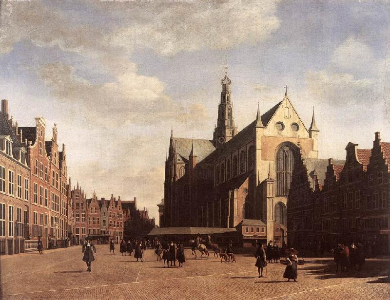 BERCKHEYDE, Gerrit Adriaensz. The Market Square at Haarlem with the St Bavo oil painting image