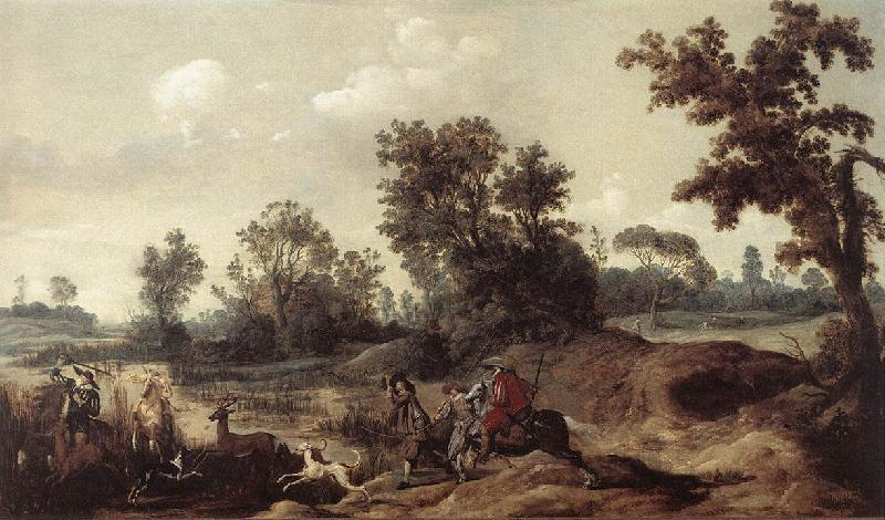 BLEKER, Gerrit Claesz Stag Hunting in the Dunes France oil painting art