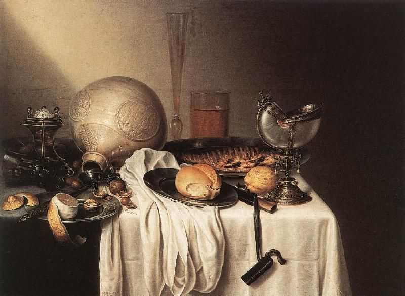 BOELEMA DE STOMME, Maerten Still-Life with a Bearded Man Crock and a Nautilus Shell Cup France oil painting art