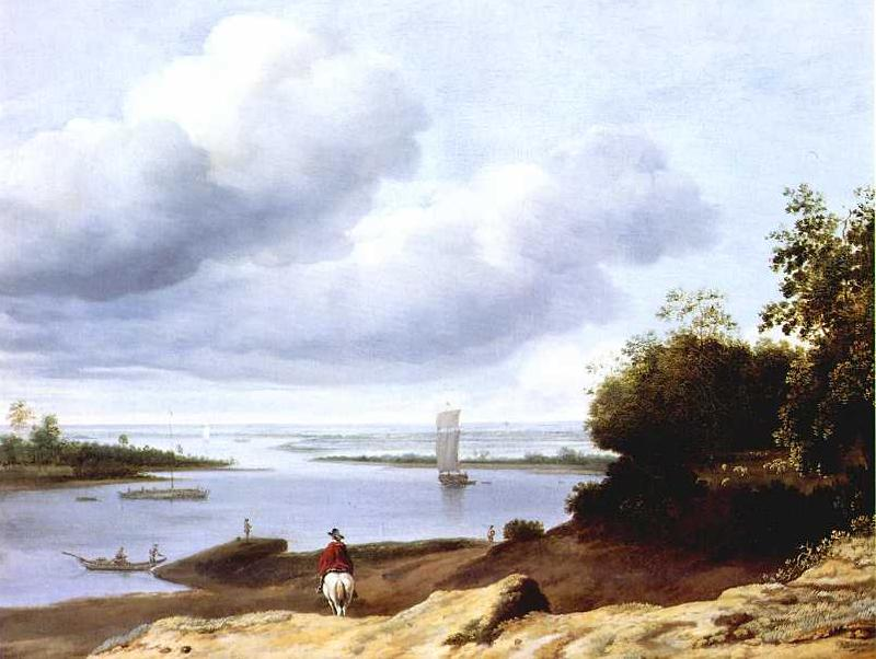 BORSSUM, Anthonie van Extensive River View with a Horseman dgh France oil painting art