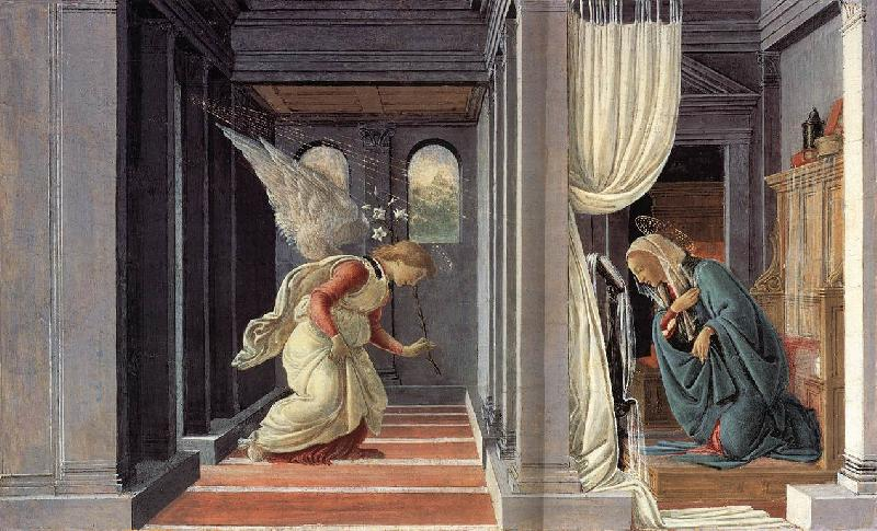BOTTICELLI, Sandro The Annunciation fd France oil painting art