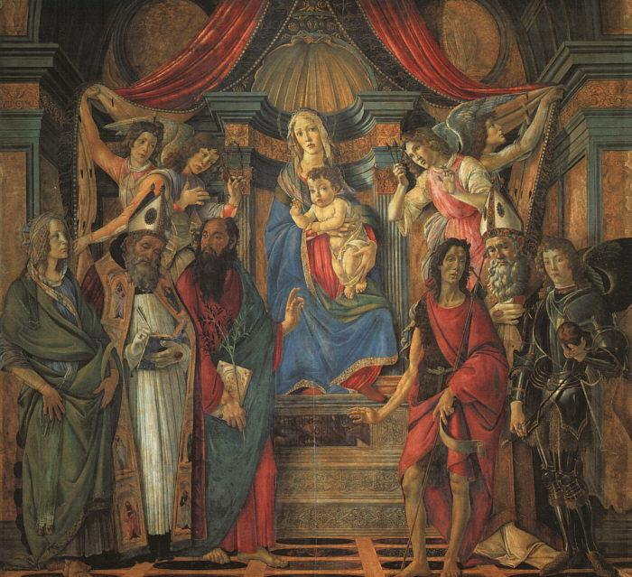 BOTTICELLI, Sandro San Barnaba Altarpiece (Madonna Enthroned with Saints) gfj France oil painting art