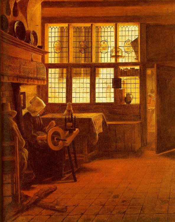 BOURSSE, Esaias Interior with a Woman at a Spinning Wheel fdgd France oil painting art