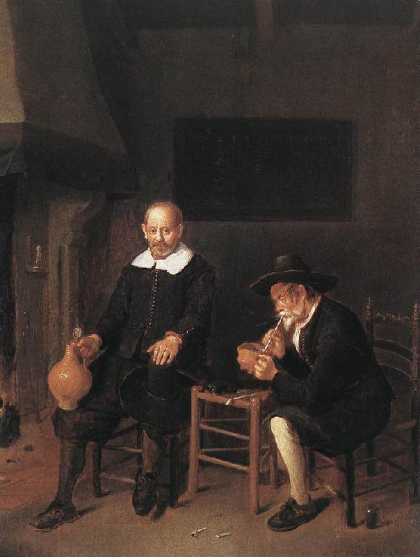 BREKELENKAM, Quiringh van Interior with Two Men by the Fireside f oil painting image