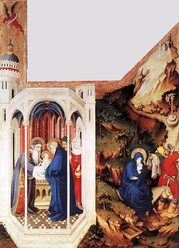BROEDERLAM, Melchior Presentation in the Temple and Flight to Egypt f oil painting image