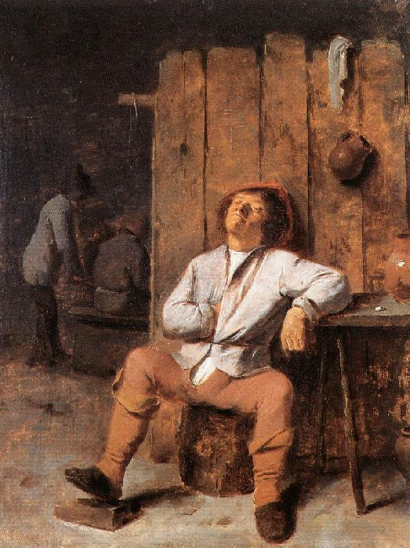 BROUWER, Adriaen A Boor Asleep oil painting image