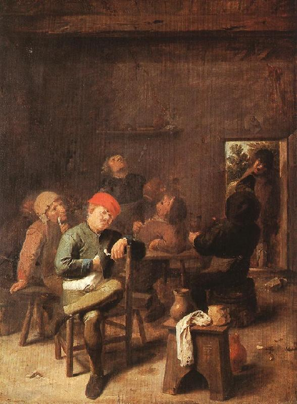 BROUWER, Adriaen Peasants Smoking and Drinking f oil painting image
