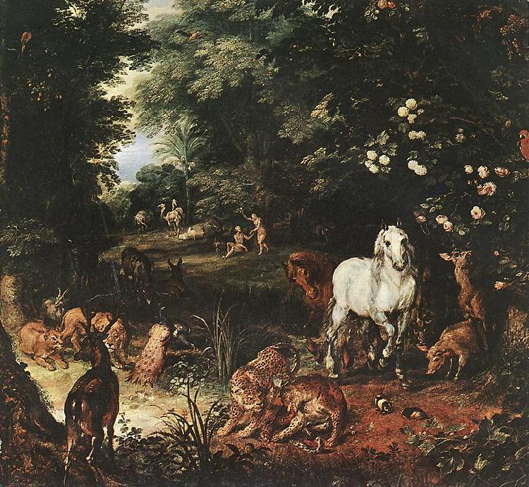 BRUEGHEL, Jan the Elder The Original Sin (detail) fg oil painting image