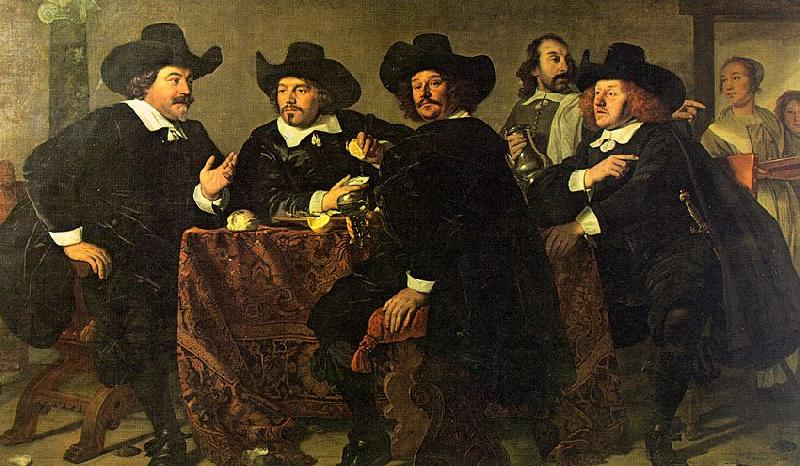 Bartholomeus van der Helst The Regents of the Kloveniersdoelen Eating a Meal of Oysters oil painting image